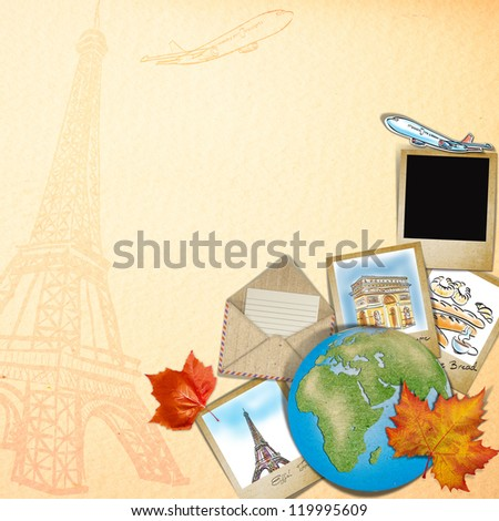 drawing famous landmark of France in photo frame - stock photo
