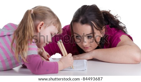 drawing fat woman and little blond hair girl - stock photo