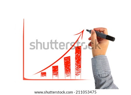 drawing financial graph - stock photo