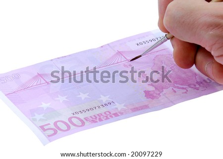 Drawing five hundred euro bill. Isolated on the white background