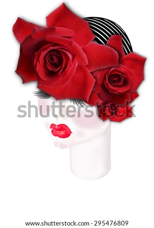 Drawing girl's face with a diadem of roses and cap on his head