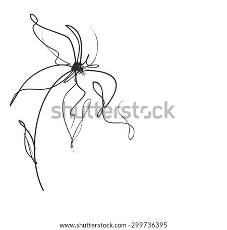 Drawing  graphics with floral patterns with  tulips for design. Floral flower natural design. Graphic, sketch drawing. - stock photo