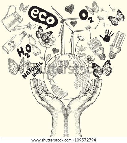 Drawing green world concept tree on the earth in hands