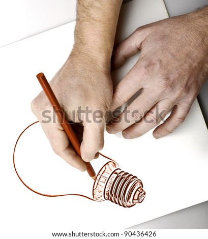 Drawing hands - stock photo
