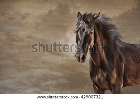 Drawing horse portrait oil painting on old vintage color grunge paper background - stock photo