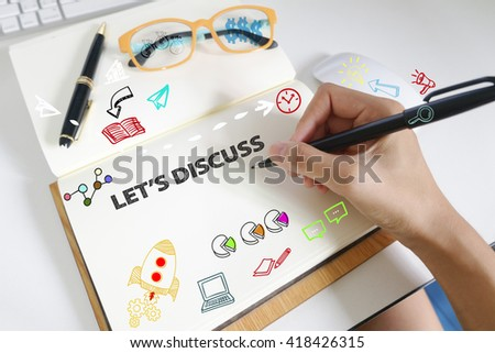 drawing icon cartoon with LET'S DISCUSS  concept on paper in the office , business concept , business idea , strategy concept - stock photo