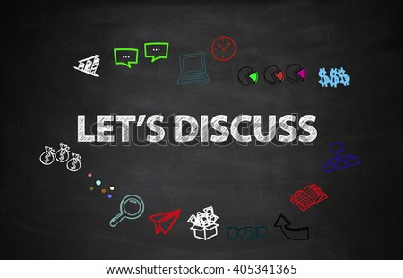 drawing icon cartoon with LET'S DISCUSS  text  on black board , business concept , business idea , analysis concept - stock photo