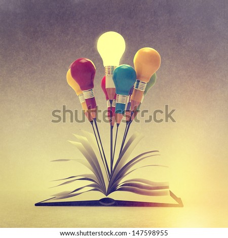 drawing idea pencil and light bulb concept outside the book as creative as vintage style concept - stock photo