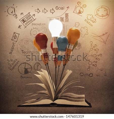 drawing idea pencil and light bulb concept outside the book as creative vintage style concept - stock photo