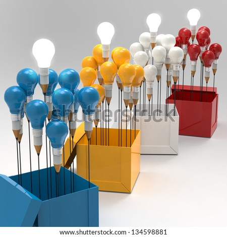 drawing idea pencil and light bulb concept think outside the box as creative and leadership concept - stock photo