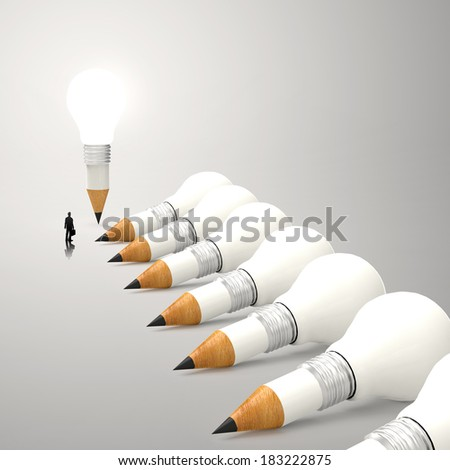 drawing idea pencil and light bulb 3d concept creative and leadership concept with copy space and businessman  - stock photo