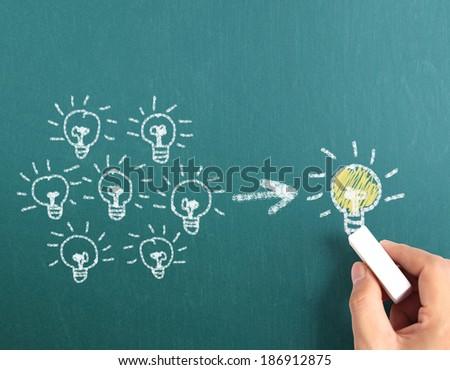 drawing idea the light bulb  - stock photo