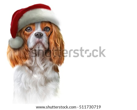 Drawing, illustration dog Cavalier King Charles Spaniel in a hat of Santa Claus, portrait oil painting on a white background. Christmas and New Year