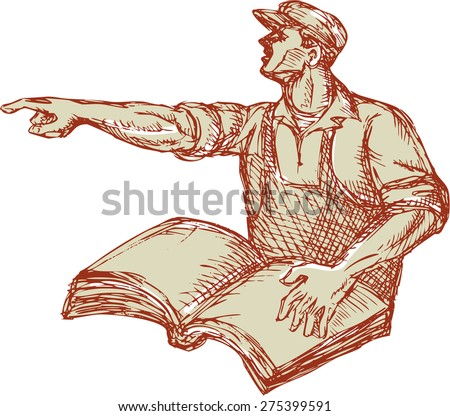 Drawing illustration of a protester activist unionist union worker with book pointing to the side set on isolated white background.  - stock photo