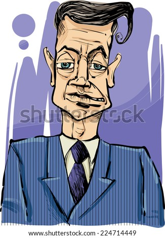 Drawing Illustration of Man i Suit Caricature Sketch