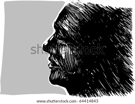 Drawing illustration of man profile
