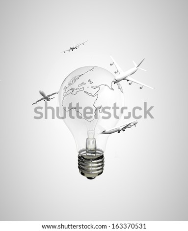 drawing lamp earth and flying airplanes - stock photo