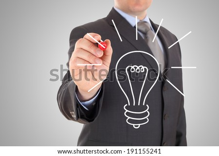 drawing lightbulb - stock photo