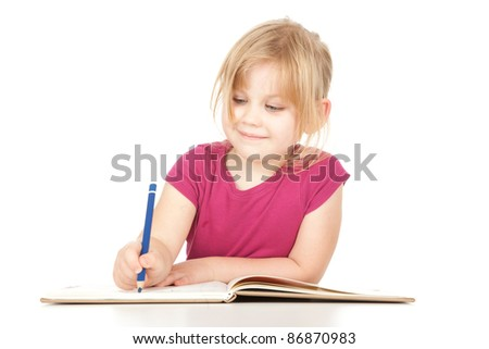 drawing little girl with blue crayon, white background