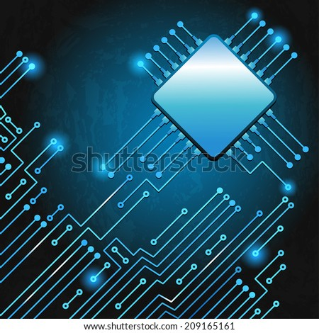 Drawing modern electronic circuit on blue grungy background - stock photo