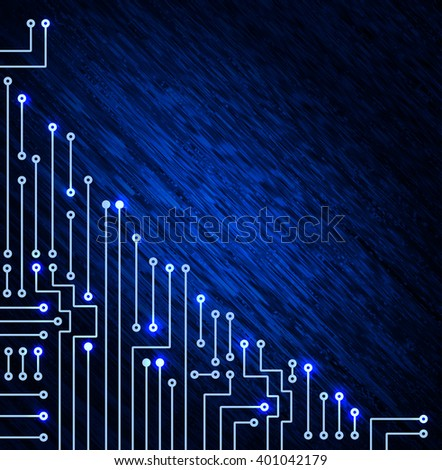 Drawing modern electronic circuit on blue ruffle background