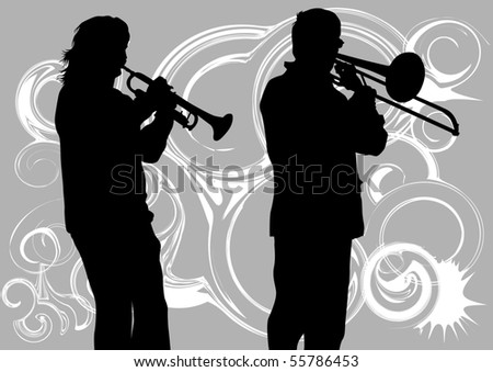 drawing music jazz orchestra. Artists on stage - stock photo