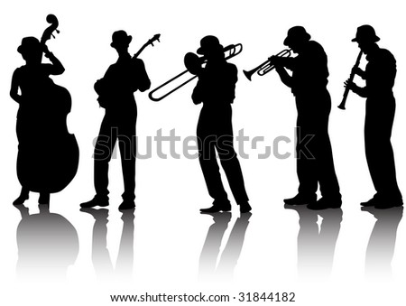 drawing musical group. Silhouettes on a white background - stock photo