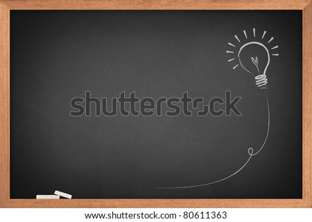 Drawing of a bulb idea on blackboard - stock photo