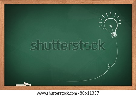 Drawing of a bulb idea on green board - stock photo
