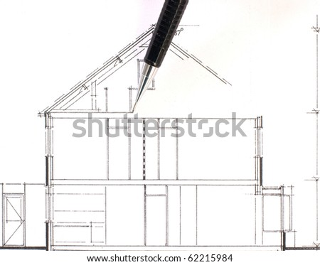 Drawing of a family house, work in progress - stock photo
