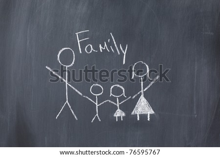 Drawing of a family on a blackboard - stock photo