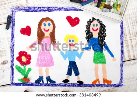 drawing of a happy couple of lesbians and adopted child - stock photo