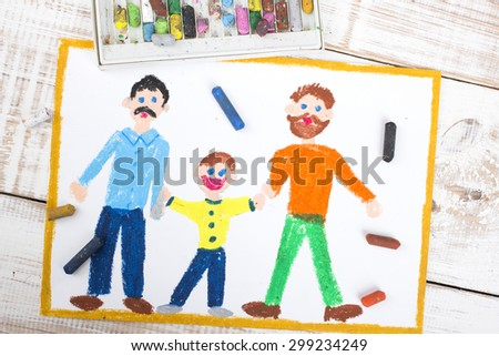 drawing of a happy gay couple and adopted child - stock photo