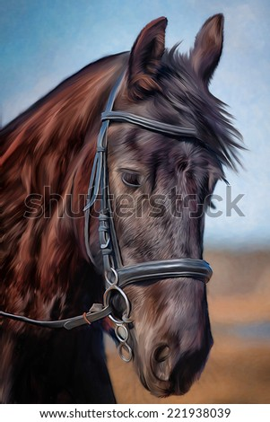 Drawing of a horse, portrait, - stock photo