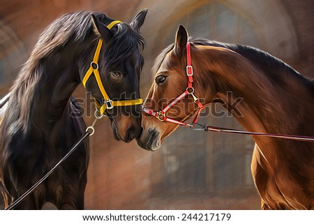 Drawing of a horse, portrait, on a brown background, Hand-drawn - stock photo
