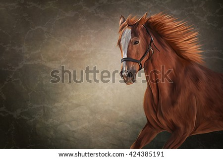 Drawing of a horse, portrait on old vintage color grunge paper background - stock photo