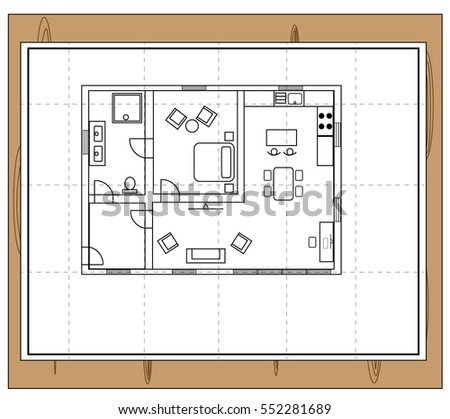 Drawing Of A House With Individual Rooms Such As Bathroom Toilet
