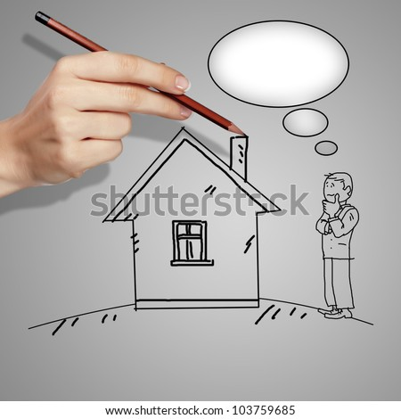 Drawing of a man standing near a house and thinking - stock photo