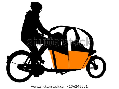 drawing of a passenger pedicab - stock photo