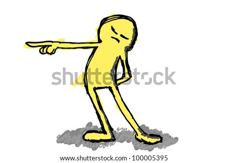 drawing of a person pointing out - stock photo
