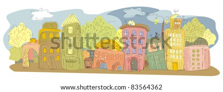 drawing of a provincial city - stock photo