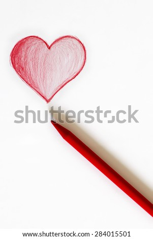 drawing of a red heart in white paper and pencil