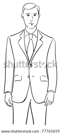 Drawing of a young male model wearing a tailored two piece suit.