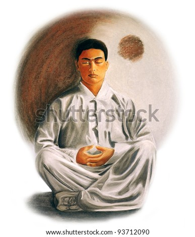 drawing of a young man practicing zen meditation - stock photo