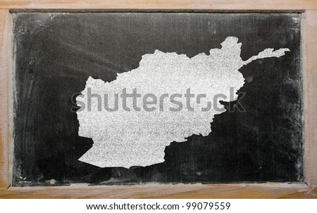 drawing of afghanistan on blackboard, drawn by chalk - stock photo