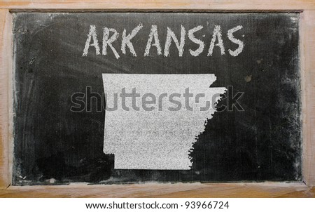 drawing of american state of arkansas on chalkboard, drawn by chalk - stock photo