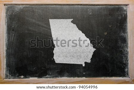 drawing of american state of georgia on chalkboard, drawn by chalk