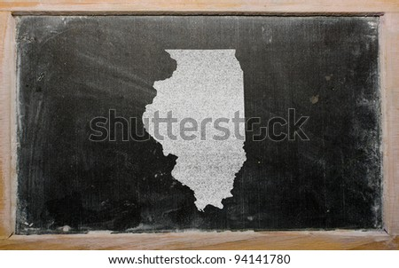 drawing of american state of illinois on chalkboard, drawn by chalk - stock photo
