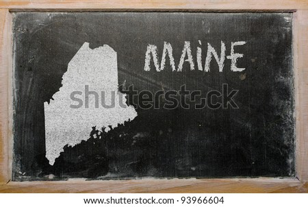 drawing of american state of maine on chalkboard, drawn by chalk - stock photo