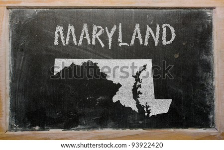 drawing of american state of maryland on chalkboard, drawn by chalk - stock photo
